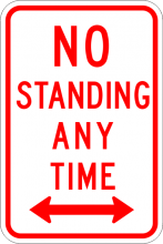 R7-4 No Standing Any Time Sign