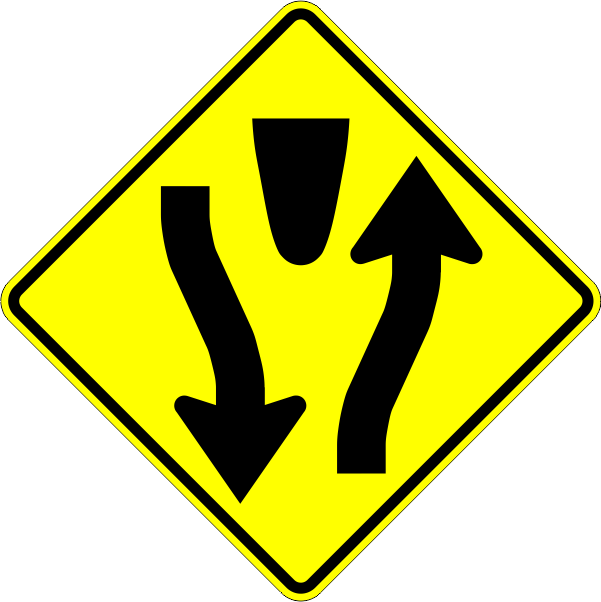 W6-1 Divided Highway Begins Symbol   Time Signs Manufacturing